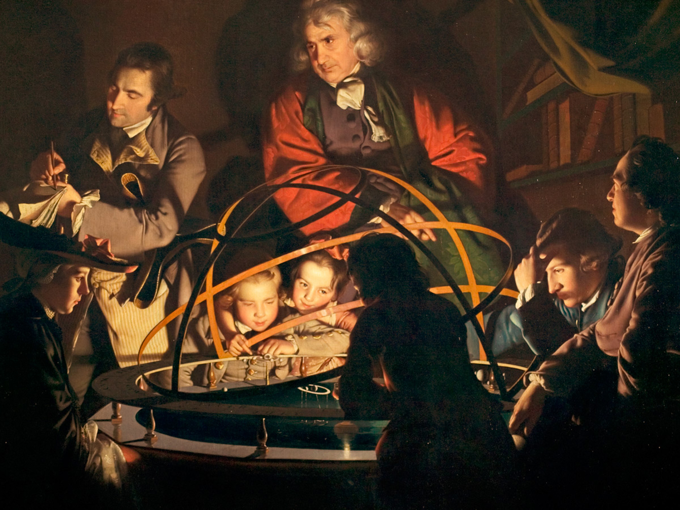 <strong>Joseph Wright</strong>: <cite>Filosofi luennoi Orreryn äärellä; lamppu kuvastaa Aurinkoa (A Philosopher lecturing on the Orrery, in which a Lamp is put in the Place of the Sun)</cite> 1764–66