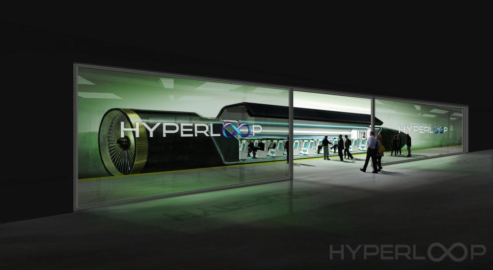 Matkustajat menossa Hypeloopiin
