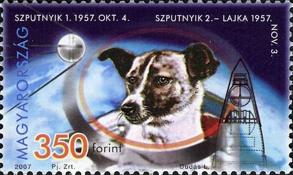 Laika-koira unkarilaisessa postimerkissä